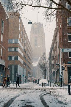 Die Meent und die Laurenskerk im Schnee