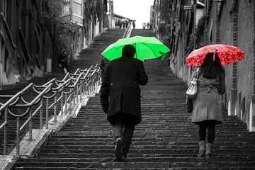 Montagne de Bueren met paraplu's