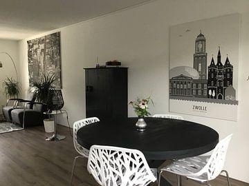Kundenfoto: Skyline-Illustration Stadt Zwolle schwarz-weiß-grau von Mevrouw Emmer