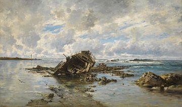 Carlos de Haes-Gebroken schip, gestrand schip, zeelandschap, antiek landschap