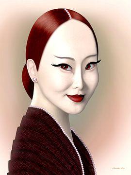 Dame in Rot von Ton van Hummel (Alias HUVANTO)