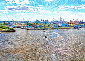 Elbe und Hafen in  Hamburg