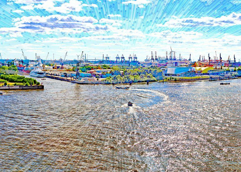 Elbe und Hafen in  Hamburg von Leopold Brix