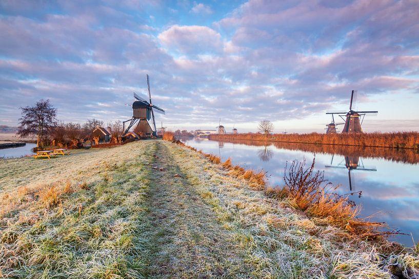 Wintermorgen in Kinderdijk van Ilya Korzelius