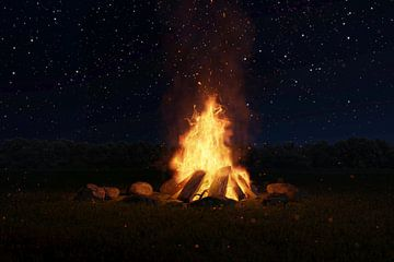 Kampvuur 's nachts en voor een sterrenhemel van Besa Art