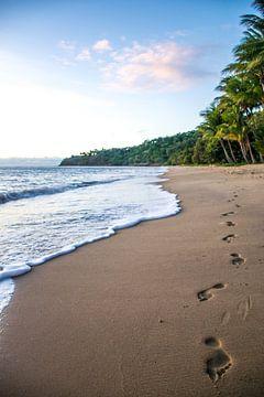 Strandwandeling - voetstappen in het zand van Manon van Goethem