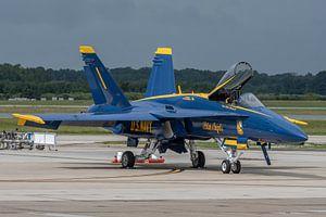 """De Boeing F/A18 C Hornet #1 van de """"Boss"""" (commandant) van de Blue Angels staat klaar om t"""