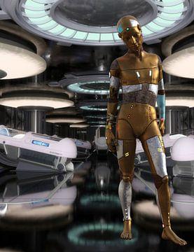Robot Boy dans le vaisseau spatial B sur H.m. Soetens