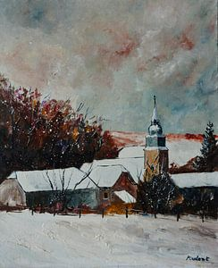 Ruhiges Dorf unter dem Schnee