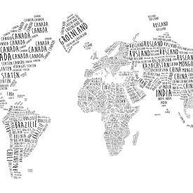 Weltkarte in Typographie - Niederländische Sprache von - Wereldkaarten.shop -