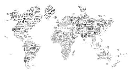 Wereldkaart in Typografie - Nederlandstalig van