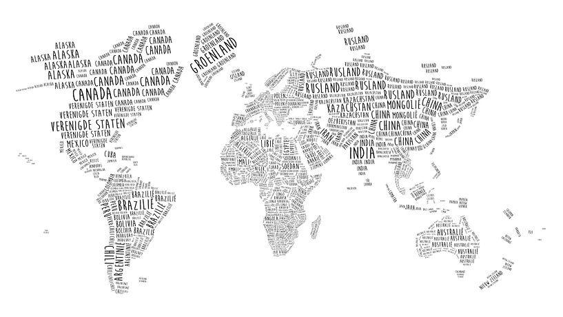 Carte du monde en typographie - en néerlandais sur - Wereldkaarten.shop -