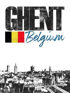 Gent België van Printed Artings