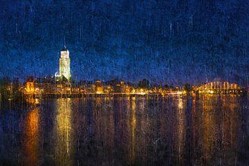 Gemalte Skyline von Deventer bei Nacht