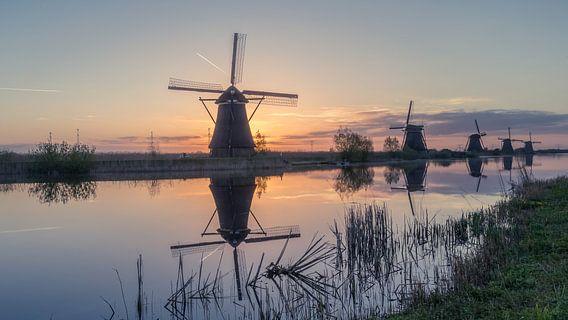 Sunrise behind Kinderdijk
