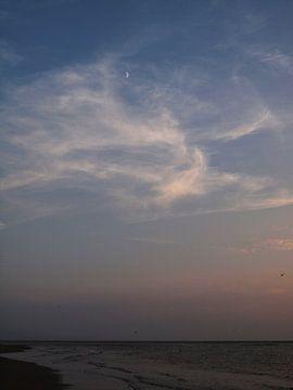Kijken naar de maan terwijl de zon ondergaat van Martijn Wit