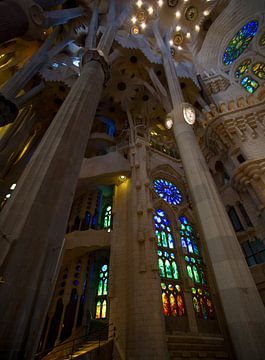 De prachtige kleurrijke binnen kant van de Sagrada Familia von Guido Akster