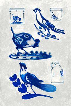 Blauwe specht en kip van Mad Dog Art