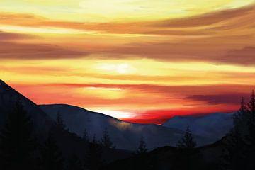 Verre heuvels en bomen in het gouden licht van de avondzon