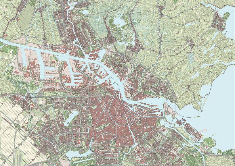 Kaart van Amsterdam en omgeving van Rebel Ontwerp