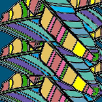 GRAFISCHE PRINT BANANENBLAD 1 van Marijke Mulder