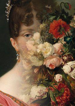 Portret van Hortense de Beauharnais, met bloemstilleven. van Studio Maria Hylarides
