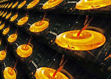 Blazing steeel disks van Leopold Brix