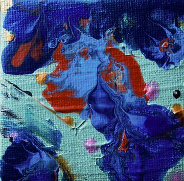 Acryl Pouring blauw van Angelique van 't Riet