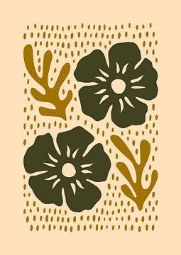 Silhouet bloemen aardetinten van Rene Hamann