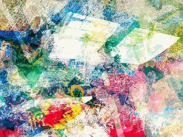 Modernes, abstraktes digitales Kunstwerk in Blau, Rot, Pastellfarben von Art By Dominic