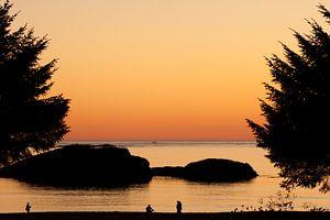 Silhouette zonsondergang