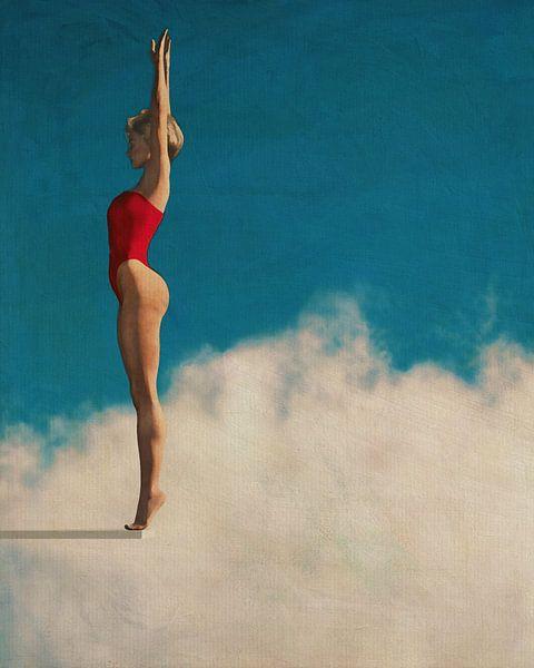 Schilderij van een vrouw, klaar om in de wolken te duiken van Jan Keteleer
