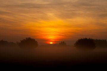 Sonnenaufgang auf der IJssel von Maarten Krabbendam