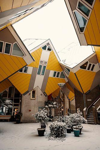 Des maisons en cube dans la neige