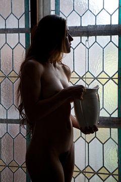 Artistiek naakt in een klooster bij een glas in lood raam von Arjan Groot