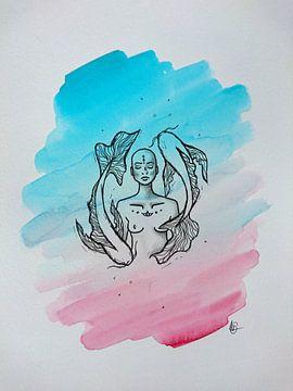 ZEN ll - Aquarel x Tekening van Claudia Maglio