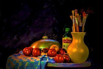 Stilleven tafel met groenten voor tomatensoep kan met schilderpenselen en olijfolie een stolp van ti van ellenilli .