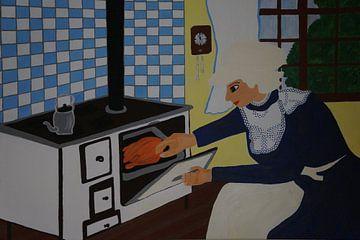 In der Küche - Frau am Herd van Babetts Bildergalerie