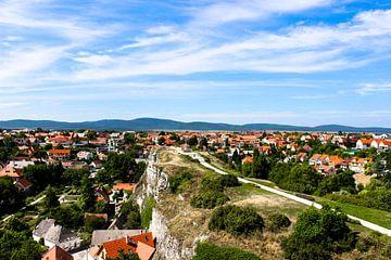 Uitzicht over de stad Veszprem in Hongarije van Simon Knot