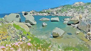 Sardinië - Le Piscini di Porto Cuncatu - Natuurlijk Figuratief - Costa Smeralda - Schilderij van Schildersatelier van der Ven