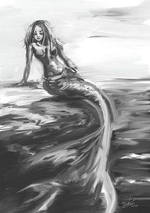Dessin de sirène en nuances de gris