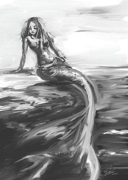 Zeemeermin kunstwerk in grijs tinten van Emiel de Lange