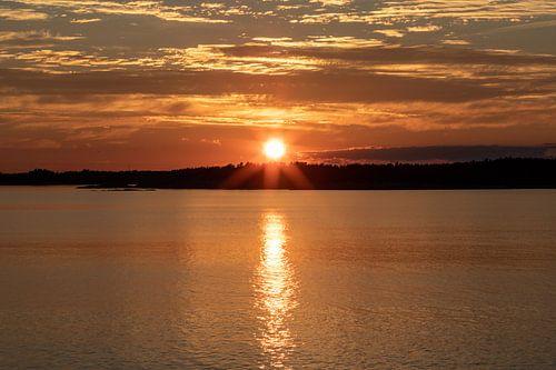 Zonsondergang in Nynäshamn, Zweden