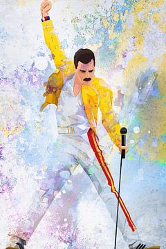 Freddie Mercury Wembley Stadium Abstract Portret van Art By Dominic