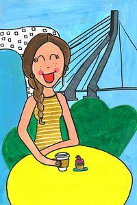 Vrolijk schilderij van een meisje in Rotterdam van