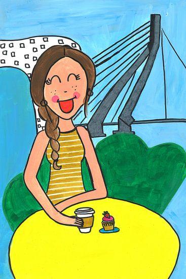 Vrolijk schilderij van een meisje in Rotterdam von Schildermijtje Shop