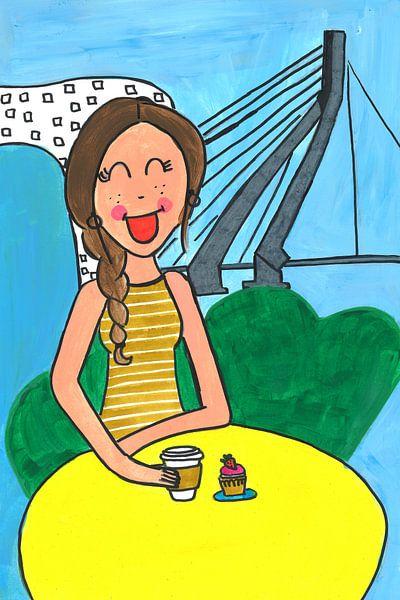 Vrolijk schilderij van een meisje in Rotterdam van Schildermijtje Shop