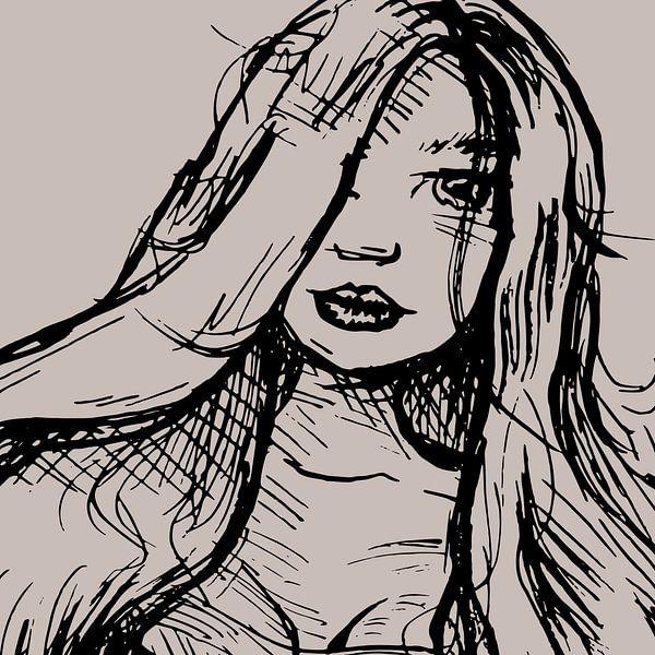 Tuschezeichnung Porträt Mädchen mit langen Haaren - quadratisches Format von Emiel de Lange