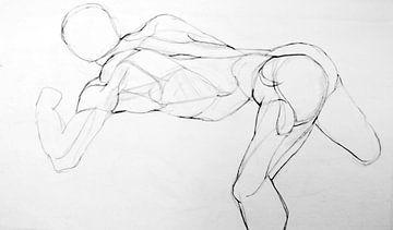 Linienzeichnung eines Menschen. von Therese Brals