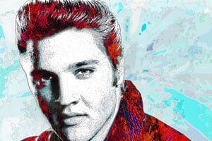 Elvis Presley Abstraktes Pop-Art-Portrait in Rot mit Hellblau